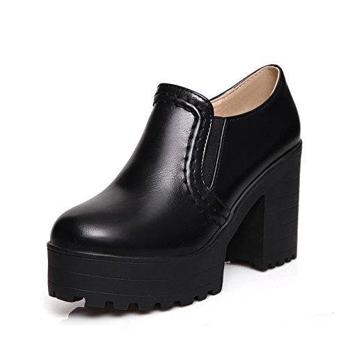 BalaMasa Womens Elastic High-Heels Solid Black Microfiber Pumps-Shoes - 10.5 B(M) ()
