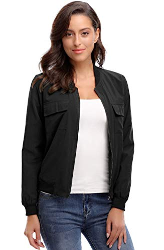 MISS MOLY Women's Bomber Jackets Casual Zipper Lightweight Thin Coat Bomber Outwear Jacket with Pockets(Black-XS)