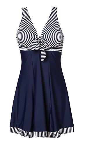 MiYang Women's One Piece High Waist Printing Swim Dress Swimwear,Navy Stripe,Large(US size:12-14)