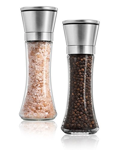 (KitchenGrip Salt and Pepper Grinder Set Of 2 - Stainless Steel Top, 6 Oz Glass Tall Body - Salt and Pepper Mill For Fine and Coarse Grinding, 5 Grade Adjustable Ceramic Rotor, Salt and Pepper Shakers)