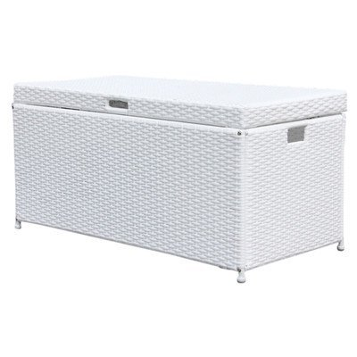 High Quality Outdoor 70 Gallon Wicker Deck Storage Box Color: White
