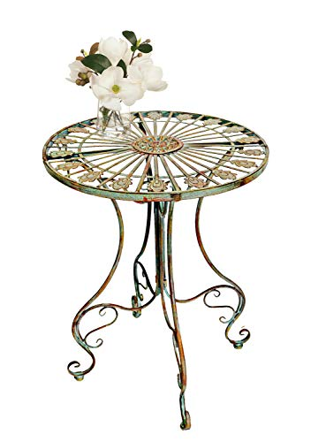 - PierSurplus Metal Bistro Table w/Curved Legs, Scrolling Heart & Peacock Tail Motif Product SKU: PF223587