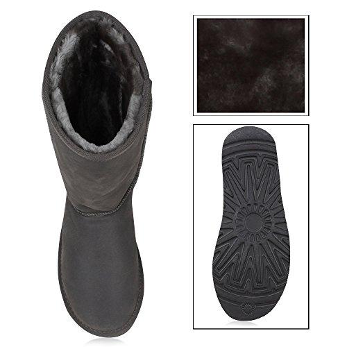 Stiefelparadies Kinder und Damen Stiefeletten Warm Gefütterte Schlupfstiefel Profil Schuhe Flandell Grau Amares