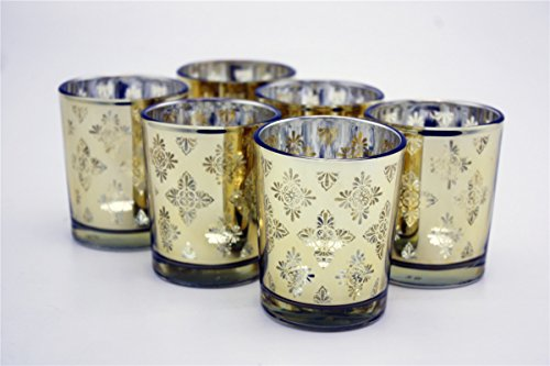 Antique Cut Glass Patterns (V-More Laser Cut Mercury Glass Votive Candle Holder Tealight Holder 2.55-inch Tall Set of 6 For Home Decor Wedding Party Celebration (Gold Ice Flower))