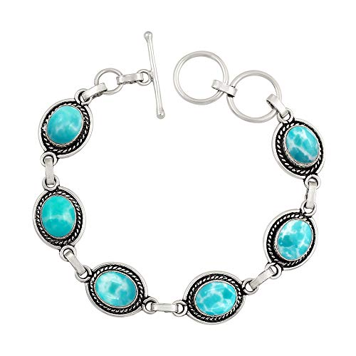 (925 Silver Plated Oval Shape Simulated Larimar Tennis Link Bracelet Handmade Oxidized Finish Vintage Bohemian Style Jewelry for Women Girls)