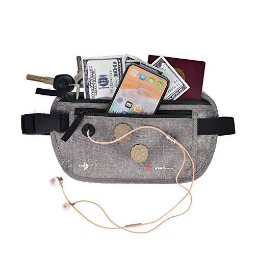 Waterproof RFID Blocking Anti Theft Hidden Waist Stash Mens Passport Holder Money Belt for Travel Women Men (Gray)