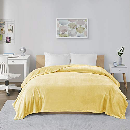 Intelligent Design Microlight Plush Luxury Oversized Blanket Premium Soft Cozy For Bed, Couch or Sofa, Full/Queen, Yellow (Yellow Comforter Light)