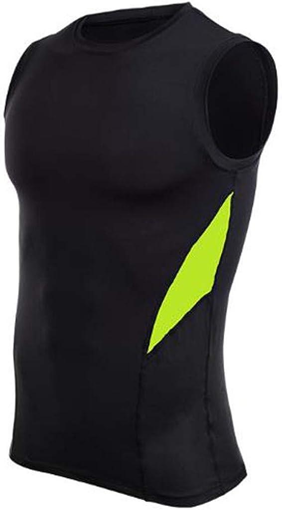 Yutao Mens Fitness Sleeveless Rashguard T-Shirt Bodybuilding Skin Tight-Drying Tops