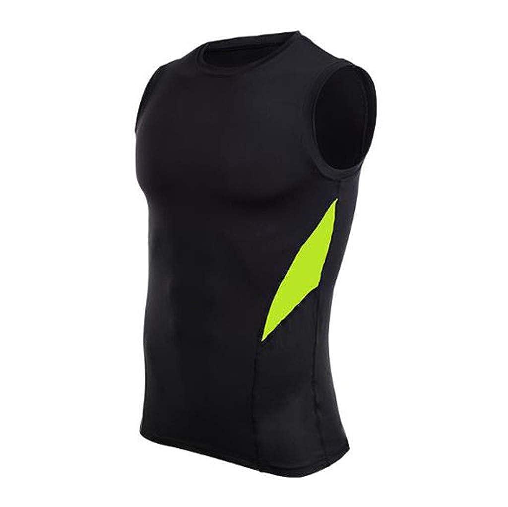 Mens Fitness Sleeveless Rashguard T-Shirt Bodybuilding Skin Tight-Drying Tops Palarn Mens Fashion Sports Shirts
