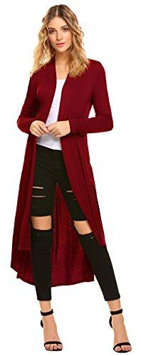 POGTMM Women's Long Open Front Drape Lightweight Maix Long Sleeve Cardigan Sweater (US S (4-6), Red)
