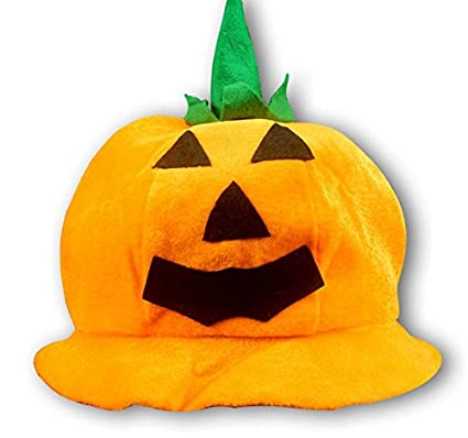 Heylookhere Creative Party Hat Accessori Decal Halloween Dress Up Props  Funny Pumpkin Round Cap Yellow e17f30dc95b8