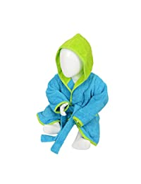 A&R Towels Baby/Toddler Babiezz Hooded Bathrobe (12/24 Months) (Aqua Blue/Lime Green)