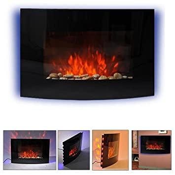 Perfect HOMCOM LARGE LED CURVED GLASS ELECTRIC WALL MOUNTED FIRE PLACE FIREPLACE 7  COLOUR SIDE LIGHTs SLIMLINE