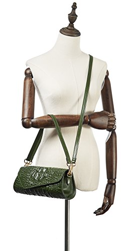 Crocodile PIFUREN M1114 Classic Leather Evening Embossed Skin Womens Green Clutch Party Cqqtxzg