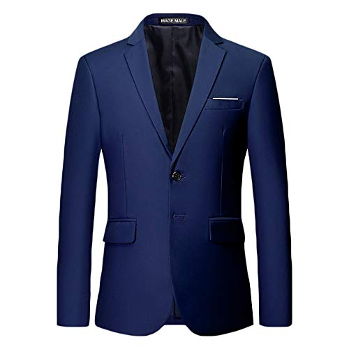 Flap Pocket Single Breasted Blazer - MAGE MALE Men's Slim Fit Blazer Casual Two Button Flap Pockets Business Solid Sport Suits Jacket Dark Blue