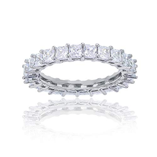 Decadence Women's Sterling Silver Rhodium 2.50mm Princess Cut Eternity Band, ()