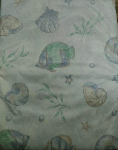 The Pecan Man Vinyl Tablecloth Flannel Back Cover Fish Sea Shells 60