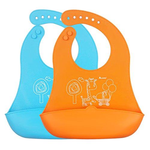 iRegro bavoir bébé - Moins mess, facile à nettoyer, souple et confortable, conserve sa forme Avec Easy Rolls Up, WIDE alimentaire Catcher Pocket, Lot de 2 couleurs (bleu / orange)