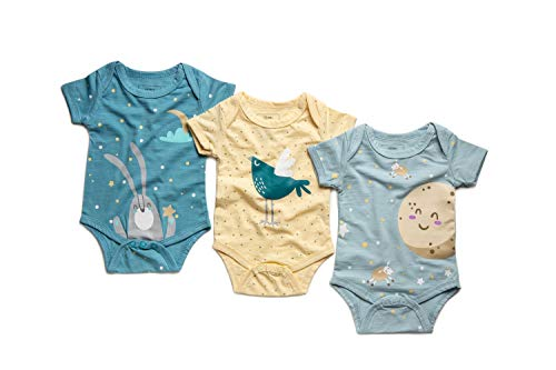 Newborn 0-3 Months Baby Girl/Boy Natural Organic Bamboo Fabric Onesies Set of 3 Funny Short-Sleeve Unisex in a Gift Box