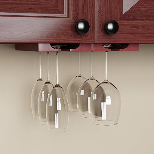 hanging under cabinet stemware wine glass holder rack adjustable mahogany ebay. Black Bedroom Furniture Sets. Home Design Ideas