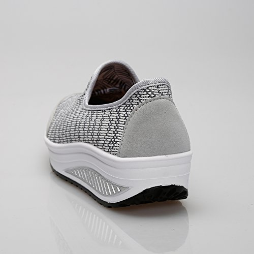 Slip On Women Sneaker KUIBU Heel Lightweight Athletic High Shoes Sport Toning Canvas Lightgray Platform Breathable HdXIwIWqr