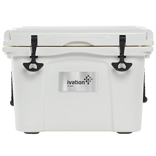 Ivation 37-Quart Rotomolded Heavy Duty Cooler Box - With Bottle Opener, Rubber T-Latches, Cup Holders & Drain Plug - Holds Up to 25-Cans + Ice - High Performance Ice Chest ()