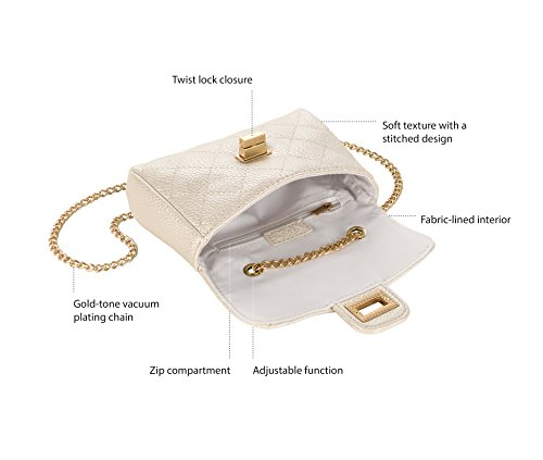 amp;c Quilted Gold White Pearl Handbag Chain Women's M Tone qAvxgHpAw