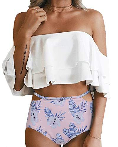 - Tempt Me Women Two Piece Swimsuit Off Shoulder Ruffled Flounce Crop Top Bikini with Cutout Bottom Set Pink Flower S