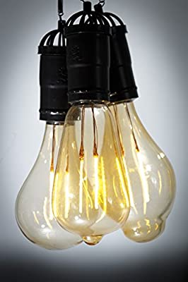 Hanging Solar Light Bulb with S Hook - Set of 3 different Edison type designs