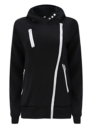Asymmetric Asymmetrical Thick Warm Full Lined Hooded Hood Hoodie Cotton Sweatshirt Top Button Side Zippered Black 2XL