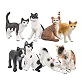 TOYMANY 8PCS Realistic Cat Figurines, Educational Cat Figures Toy Set, Kitten Easter Eggs Cake Topper Christmas Birthday Gift for Kids Boys Girls Children