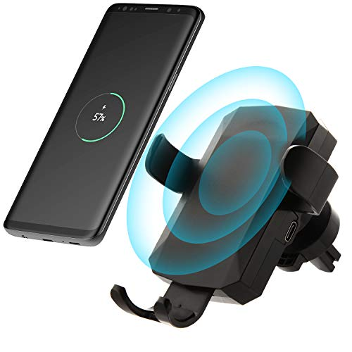 Cell Phone Holder for Car Phone Mount Cradle, Moona Universal Air Vent 10W QI Wireless Car Charger Compatible with iPhone Xs XR Xs MAX X 8 Samsung Galaxy S8 S9 S10 S10E S9/S10 Plus Note 10 9 LG G7 G8