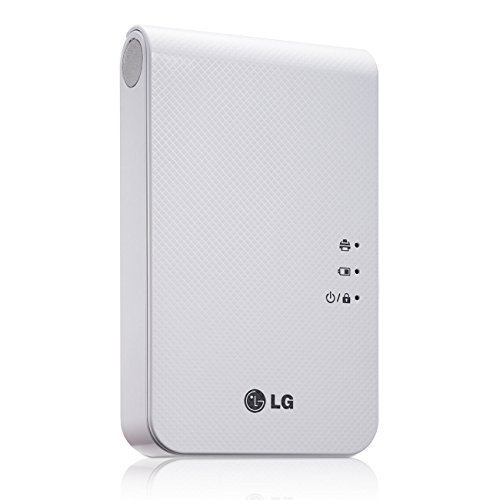 New LG Portable Mobile Pocket Photo PD241T Printer [White] (Follow-up model of PD239) Bluetooth Wireless Printing for iOS, Android and Windows OS