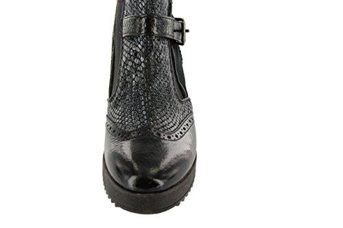 Damen Stiefelette mit durchgehende Sohle Donna Piu schwarz Materialmix