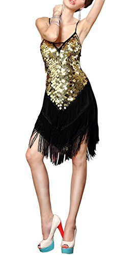 Whitewed Sexy Backless Ballroom Latin Salsa Fancy Competition Dresses Black / gold, Black / Gold, One Size