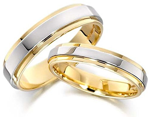 Attractive 14k White and Yellow Gold Couples Wedding Rings 5 Mm, 6 Mm