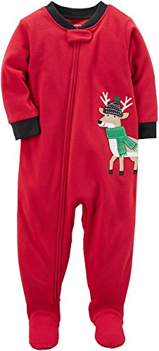 Carter's Baby Boys' 1 Pc Fleece Footed Pajama (18 Month, Red/Black Reindeer)