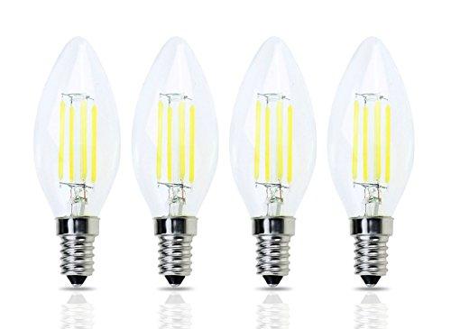 Base LED Filament C35 Bullet Top Vintage Edison Bulb,4W Daylight 6000K, No-Dimmable,4-Pack (European Base)