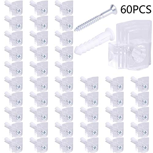 LOCOLO Clear Plastic Mirror Holder Clips, 20 Pound Mirror Clips Screw and Anchor Mount Mirror Hanging Kit for Wall (60 ()