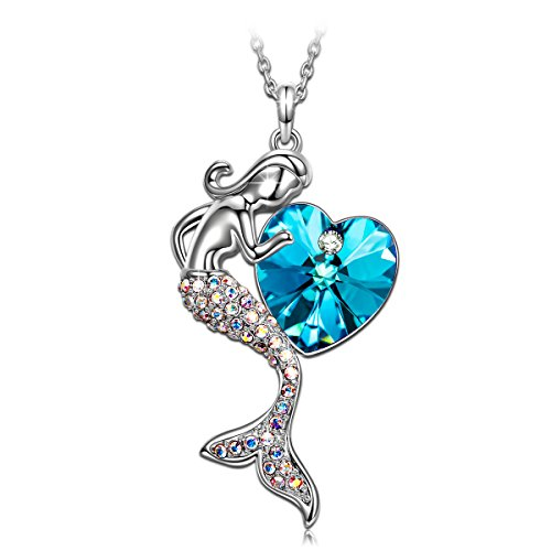 SIVERY Jewelry for Women Little Mermaid Pendant Necklace with Swarovski Crystals, Necklaces for Women, Gifts for Teen Girls