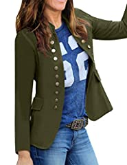 Item Specific:  Open front cardigan comes with regular long sleeve and stand collar. Shoulder padded details for cozy wear. It also features side functional pockets. Two row of embellished buttons and concealed buckle closure. Care Ins...