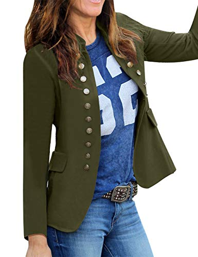 luvamia Ladies Open Front Solid Color Business Blazer Casual Buttons Jacket Suit Army Green Size Small (Fits US 4-US 6) ()