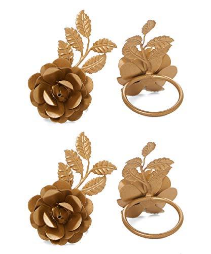 Vibhsa Flower Napkin Rings Set of 4 (Golden Rose) (Napkin Rings Flower)
