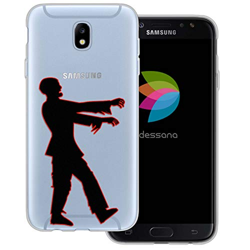 dessana Zombie Pattern Transparent Protective Case Phone Cover for Samsung Galaxy J7 (2017) Zombie Graphic -