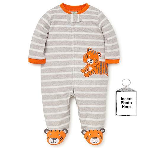 Little Me Winter Fleece Baby Pajamas with Feet Blanket Sleeper Footie Orange Tiger 12 Month