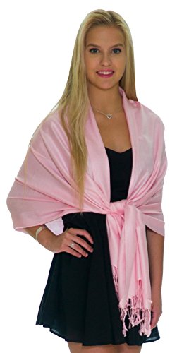 (Pashmina Shawls and Wraps - Large Scarfs for Women - Party Bridal Long Fashion Shawl Wrap with Fringe by Petal Rose (Pastel)
