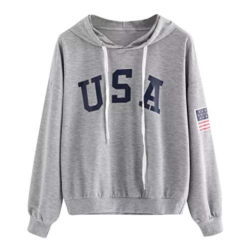 Women's Hoodies, FORUU Letter Flag Printed Sweatshirt Long Sleeve Pullover Tops Blouse