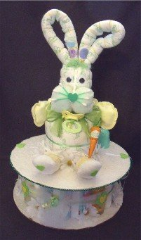 Easter Bunny Rabbit Diaper Cake Baby Shower Centerpiece