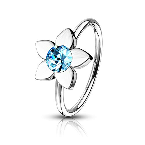 Amelia Fashion 20 Gauge Jeweled Flower Nose Hoop/Cartilage Ring Annealed 316L Surgical Steel (Choose Color) (Aqua)