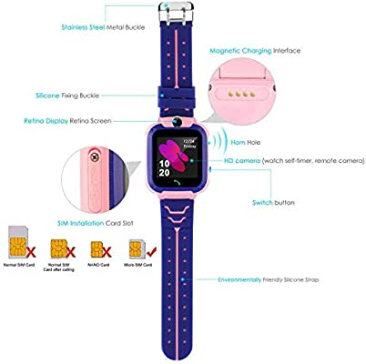 Smart Watch for Kids GPS Tracker - IP67 Waterproof Smartwatches with SOS Voice Chat Camera Math Game Alarm Clock Digital Wrist Watch Smartwatch Girls ...